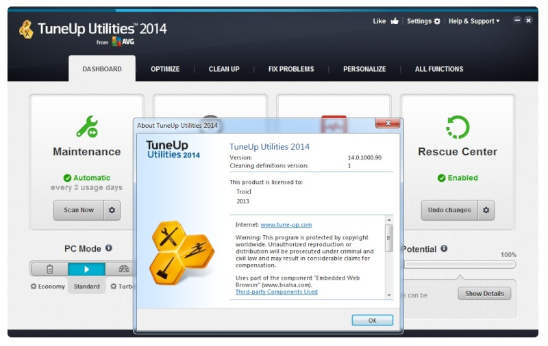���� ����� ����� ������� �� TuneUp Utilities 2014 14.0.1000.90