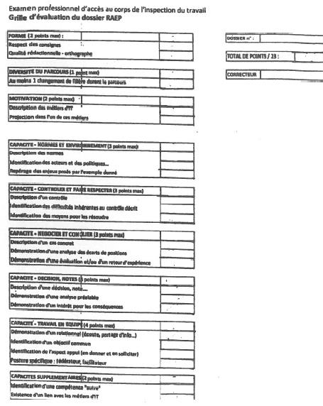 Grille d 39 valuation du dossier raep - Grille d identification des risques psychosociaux au travail ...
