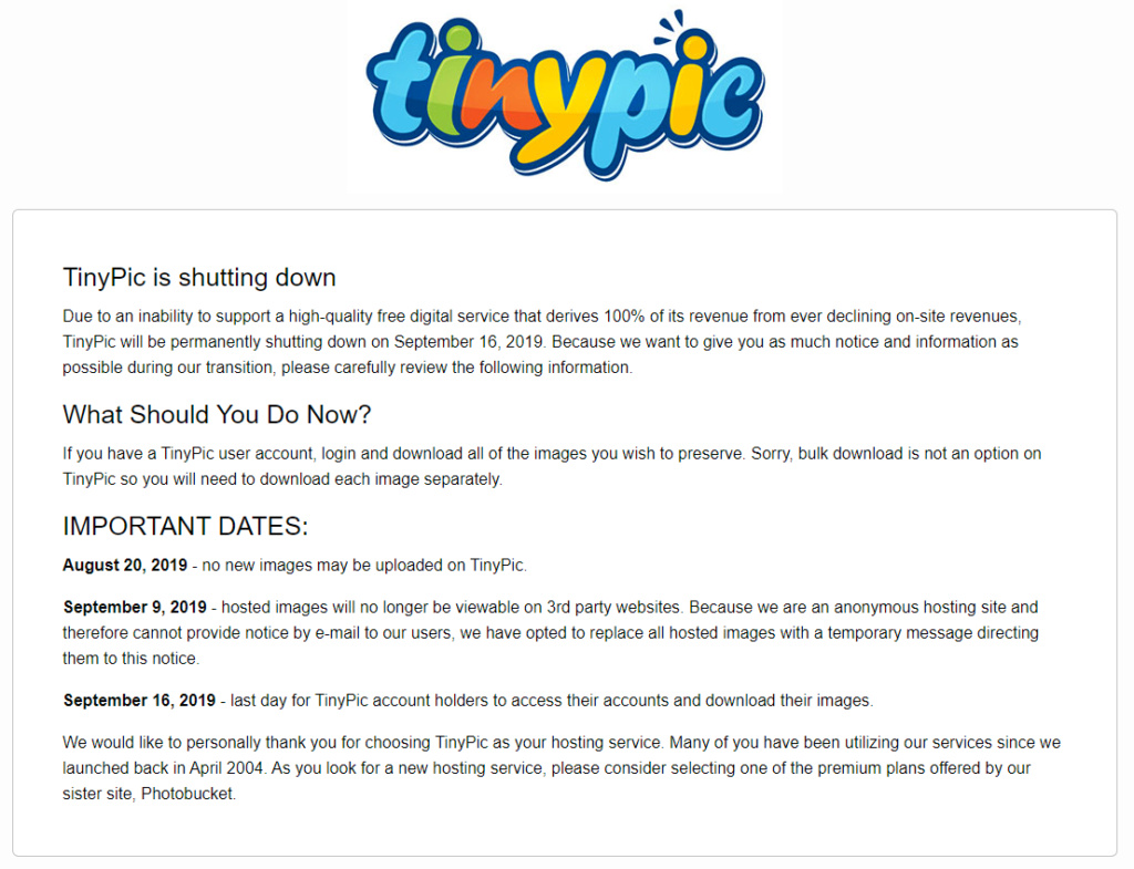 TinyPic is shutting down